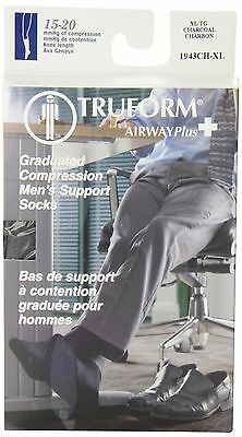 Truform 15-20mmHg of Compression Dress-Style Support Socks Mens X-Large Charc...