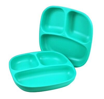 Re-Play 2 Count Divided Plates Aqua 2-Pack