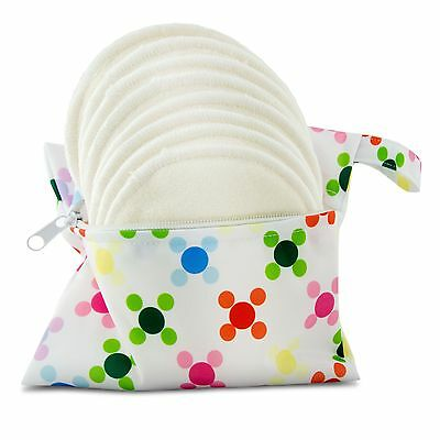 Washable Organic Bamboo Nursing Pads 8 pack (4 pair) with Laundry Bag - Natur...