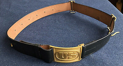 M1874 Cavalry Leather Saber Belt with US Buckle Size MEDIUM  (36-42) Indian Wars