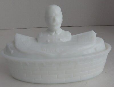 Vintage Admiral Dewey Milk Glass Container - With Damage         (Inv3074)