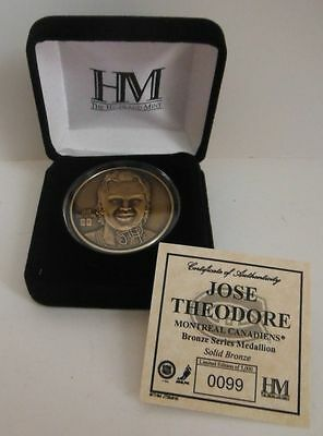 Jose Theodore Highland Mint Bronze Medallion Coin With Coa