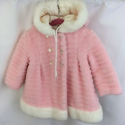 True Vintage Sears Girls Winter Coat 50-60's Pink Faux Fur Hooded Toddler 2T 3T