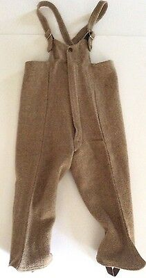 Childrens Vintage Wool Snowpants Stirrup Pant Legs Light Brown Winter