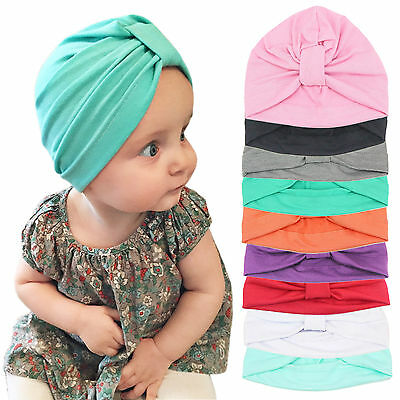 Baby Toddler Infant Unisex Cotton Turban Knot Hat Cap Beanie Size 1-6Years