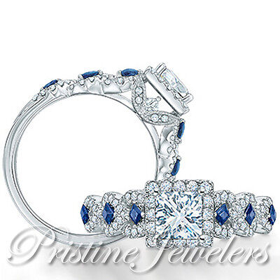 .925 Sterling Silver Blue White Princess Halo Square Women Ring Wedding Band 1PC