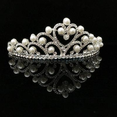 Women Wedding Bridal Prom Pageant Pearl Crystal Rhinestone Crown Tiara Headpiece