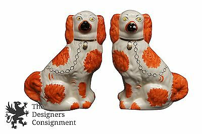"""2 Antique """"NP"""" Staffordshire Ceramic Dogs Red and White Spaniels Wales England"""