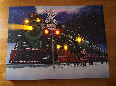 Lighted SANTA CLAUS CHRISTMAS EXPRESS TRAIN Railroad Crossing Lights Sign NEW