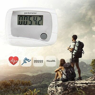 WHITE LCD PEDOMETER with CLIP - DIGITAL ELECTRONIC WALKING DISTANCE STEP COUNTER