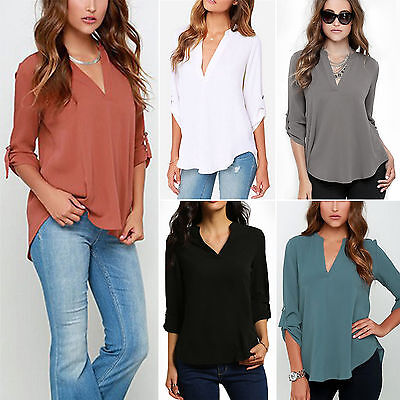 Plus Size Women OL Roll Up Sleeve V Neck Tops Loose Chiffon Lady T-Shirts Blouse