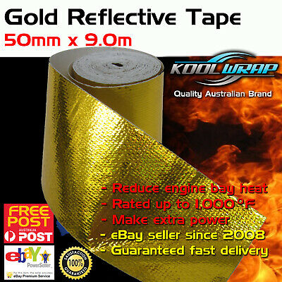 Gold Foil Heat Insulating Tape Hose Wrap Reflective Shield Adhesive 50mm x 9.0m