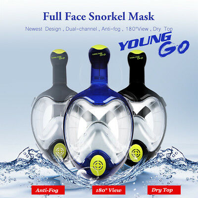 Swimming Full Face Diving Snorkel Scuba Anti-Fog Mask Surface for GoPro S/M/L/XL