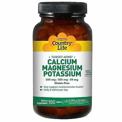 Country Life, Calcium, Magnesium, and Potassium, 500 mg 99 mg, x 180 Tablets
