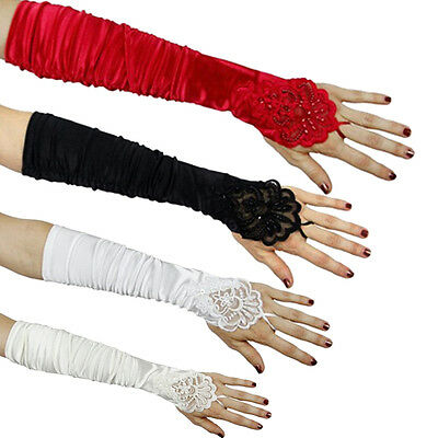 Fashion Beaded Wedding Bridal Gloves Fingerless Long Gathered Gloves for Women