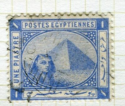 EGYPT;   1884 early Pyramid Sphinx issue fine used 1Pi. value,