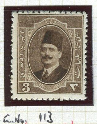 EGYPT;  1923-4 early King Faud issue 3m. fine Mint hinged value, shade