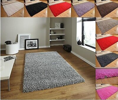 Soft Shaggy Thick Plain Rug Non Shed 5cm Thick Pile Modern Rugs SL/MED/LRG/XLRG