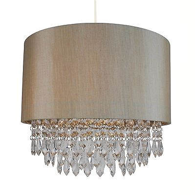 Modern Easy Fit Drum Shade Soft Gold Fabric Ceiling Pendant Light Shade Chandeli