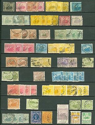 Western Australia 1854-1902 used selection on stock card. Values to 2/6. Nice...