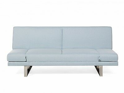 Sofa bed Fabric 4- seater double bed Adjustable armrests Light Blue
