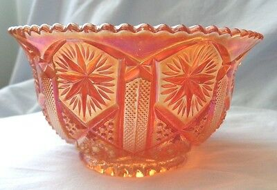 Imperial Marigold Star & File Pattern Nut Bowl Vintage Saw Tooth Edges 1920's