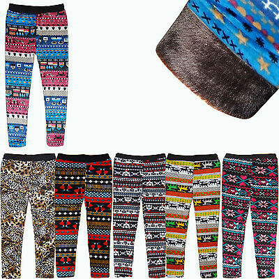 Kinder Fell gefüttert Warm Winter Leggings Thermo Hose Leggins Treggings Nicki