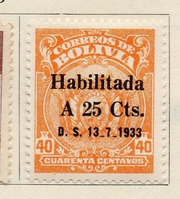Bolivia 1933 Early Issue Fine Used 25c. Surcharged 113779