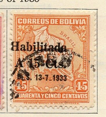 Bolivia 1933 Early Issue Fine Used 15c. Surcharged 113781