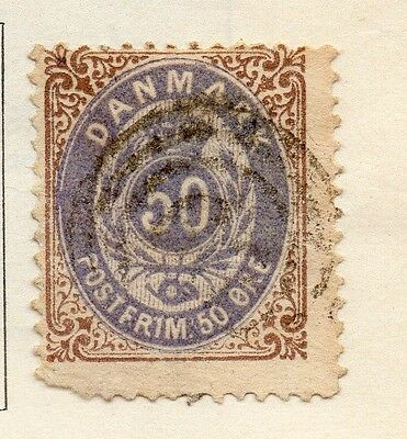 Denmark 1875 Early Issue Fine Used 50ore. 114275