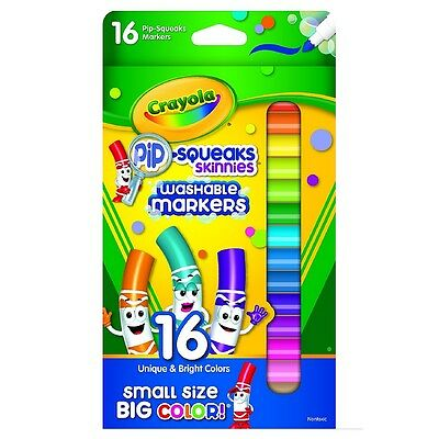 Crayola Pip-Squeaks Skinnies Washable Markers, Assorted Colors 16 ea (Pack of 8)