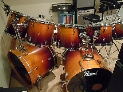 pearl export series drum kit double bass two snares 6 toms