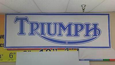 Triumph Motorcycle Dealer Vintage Logo Banner Sign
