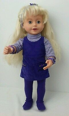 "Playmates Toys Amazing Ally 18"" Interactive Doll Blonde With Blue Eyes 1999"