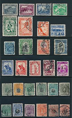 1874 - 1937 Peru EARLY ISSUES AS SHOWN, CAT VALUE $14
