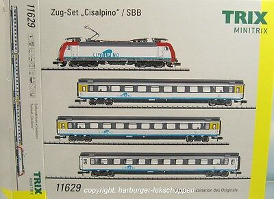"N - Minitrix 11629 E-Lok RE 484 Zug-Set ""Cisalpino"" Digital 3 Schnellzugwagen"