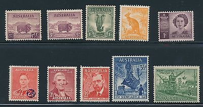 1937 - 1947 Australia VARIOUS ISSUES AS SHOWN, CAT VALUE $50+