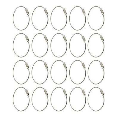 20pcs Stainless Steel Outdoor Hiking 15cm New Wire Keychain Cable Key Ring DT