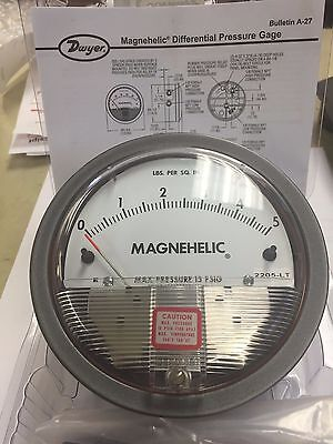 Dwyer Magnehelic Differential Pressure Gauge 2205-LT 0-5 psi