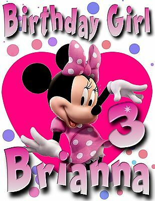 Happy Birthday Minnie Mouse - Personalized Minni Mouse Birthday T-Shirt Party