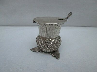 Rare Novelty Silver Mustard Pot In Scottish Thistle Form. Sheffield 1911.