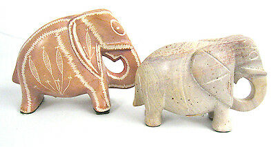 Lot of 2 Stone Elephant Made in Kenya Figurine Marble Small Animal Decor Statue