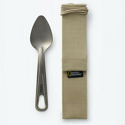 National Geographic Titanium Spoon With Compact Necklace String Case Lightweight