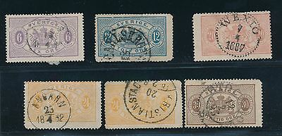 Sweden EARLY OFFICIALS (1874-96) O4, O6, O8, O19, O21 & O22; CV $116
