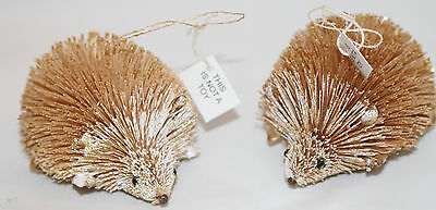 Danny Seo 2 Sparkly HEDGEHOG BURI ORNAMENT NEW Bottle Brush Holiday Christmas