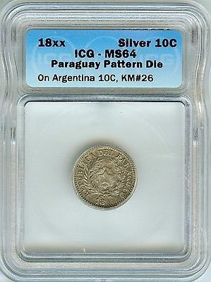 RARE PARAGUAY 18xx 10 CENTS ON ARGENTINA 10C -PATTERN DIE- IGS MS64 PnB37