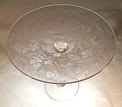 FOSTORIA OAKLEAF BROCADE CRYSTAL RARE #2400 TALL FOOTED COMPOTE or SWEETS STAND!