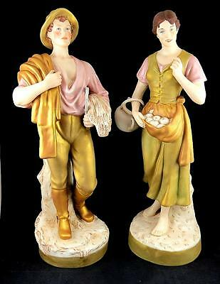 "Royal Dux E Mark Rare #2445 Man #2446 Woman Farmers Large 20.24"" Figurines 1900"