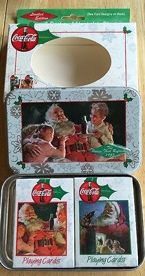 1999 Coca Cola Nostalgia Playing Cards 2 Decks Santa Tin NIB Christmas