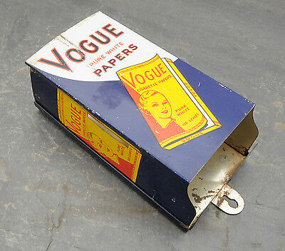 Vintage Vogue Rolling Papers Wall-Mount Dispenser Tin Litho Sign RARE Canadian
